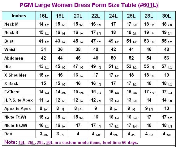 PGM 601L Large Women Dress Form With Hip