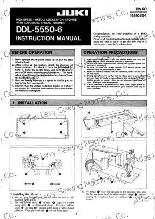 Instruction manual, juki ddl-5550: sewing parts online.
